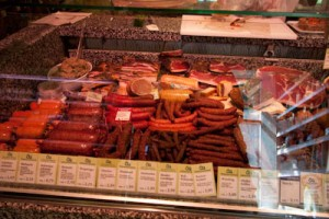 A selection of the sausages, most made right there