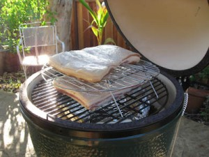 The two bacons with the grill extender and a slefmade drip pan - heavy duty aluminum foil