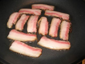 Bacon sizzling away for Saturday brunch, the official test drive