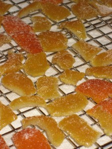 Candied lemon (and tangerine rind, the orange ones) on the drying rack