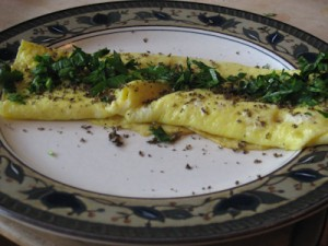 3 egg omelette with black truffles and parsley